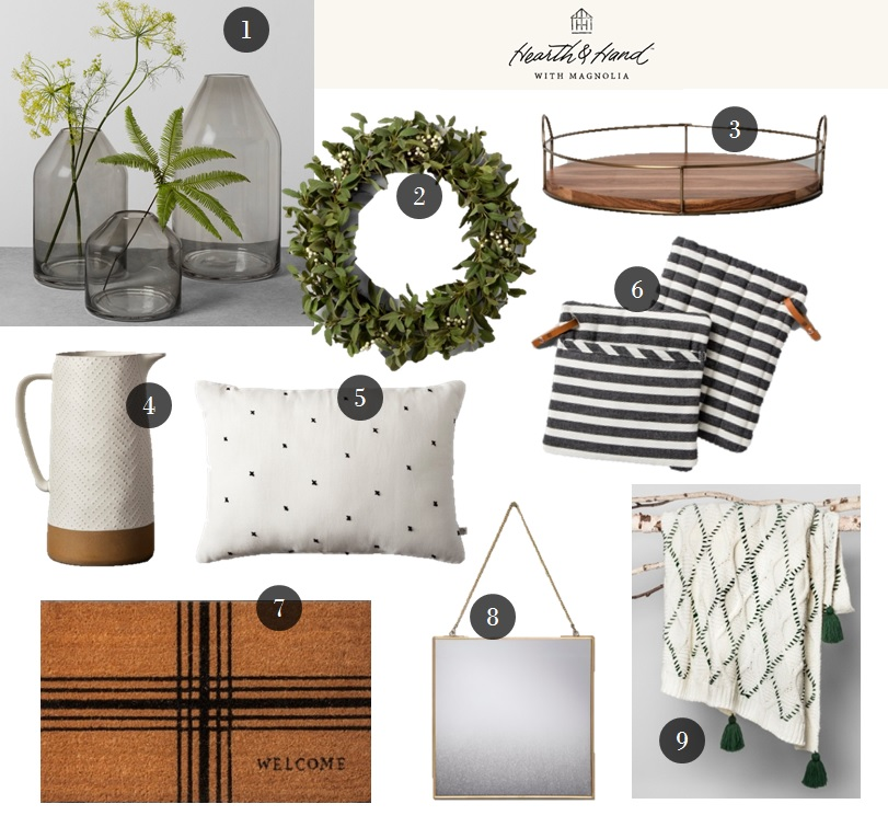 1.  Smoke Glass Jug Vase  | 2.  Artificial Wreath  | 3.  Round Wood & Wire Tray  | 4.  Textured Stoneware Pitcher  | 5.  Embroidered X Pattern Throw Pillow  | 6.  Striped Pot Holder  | 7.  Plaid Coir Doormat  | 8.  Distressed Brass Wall Mirror  | 9.  Woven Tassel Throw Blanket