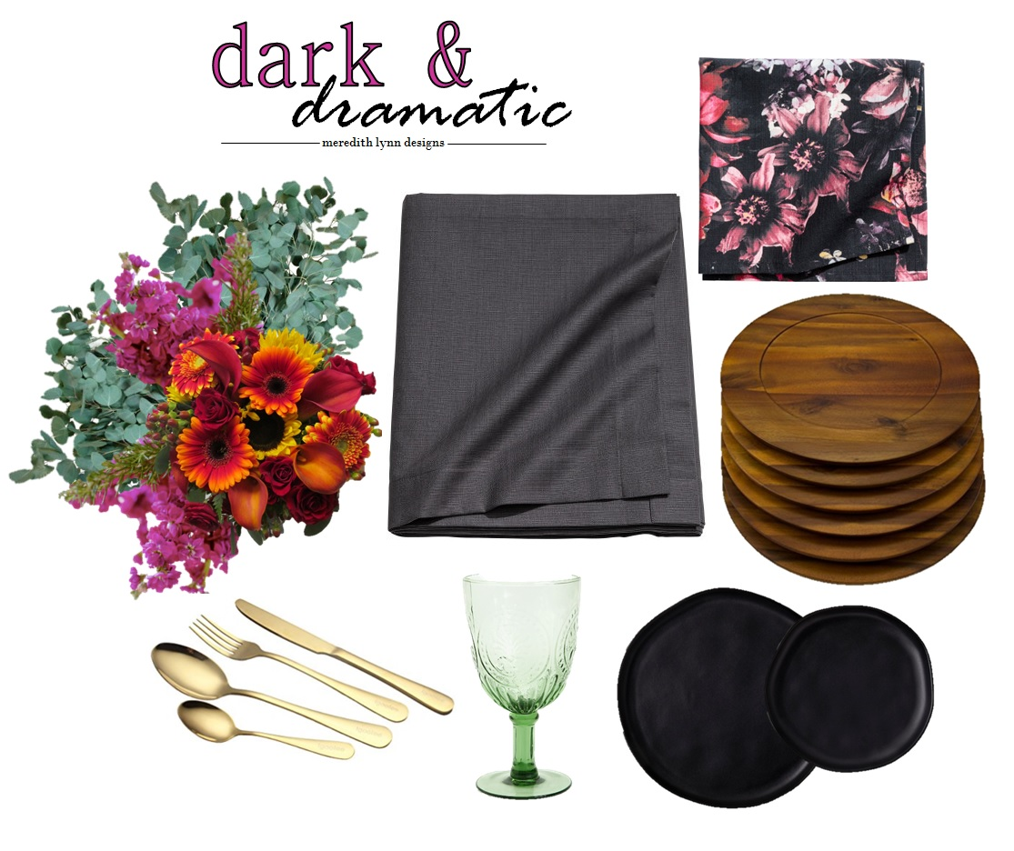Napkins  |  Plate Chargers  |  Table Cloth  |  Drinking Glass  |  Flatware  |  Dinner Plate  |  Salad Plate