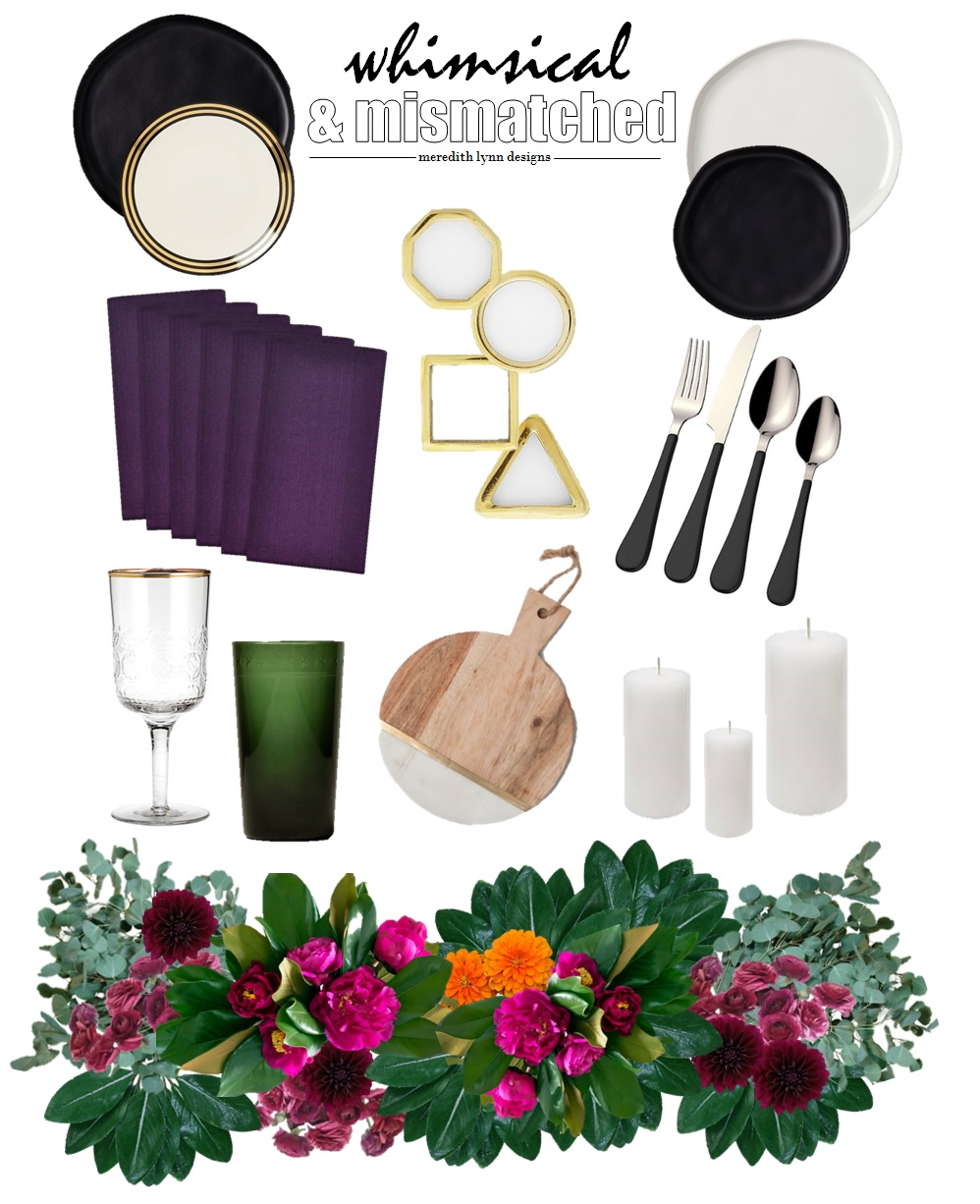 Dinner Plates  |  Black Salad Plate  |  White & Gold Salad Plate  |  Napkins  |  Green Drinking Glass  |  Gold Napkin Rings  |  Gold Rim Drinking Glass  |  Flatware  |  Cheese Board