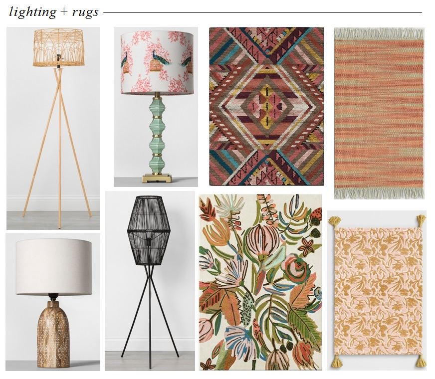 Rattan Lamp  |  Mint Table Lamp  |  Geometric Rug  |  Orange Fringe Rug  |  Wood Table Lamp  |  Diamond Tripod Lamp  |  Floral Rug  |  Pink & Yellow Rug