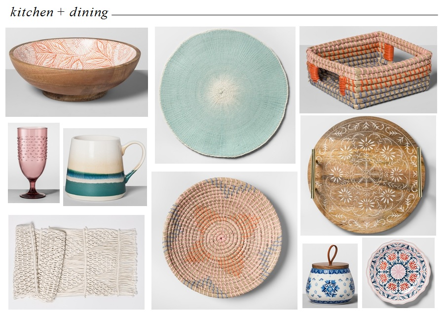 Mango Wood Serving Bowl  |  Place Mat  |  Seagrass Napkin Holder  |  Plastic Goblet  |  Stoneware Mug  |  Macrame Table Runner  |  Seagrass Serving Bowl  |  Mango Wood Tray  |  Blue & White Canister  |  Plastic Salad Plate