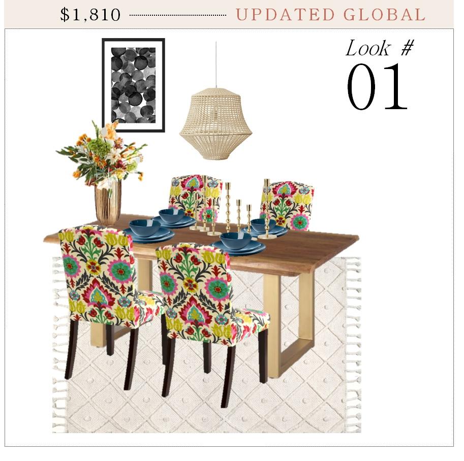 Pendant Light  |  Dinnerware  |  Dining Chairs  |  Table  |  Vase  |  Short Candlesticks  |  Tall Candlesticks  |  Rug  |  Art