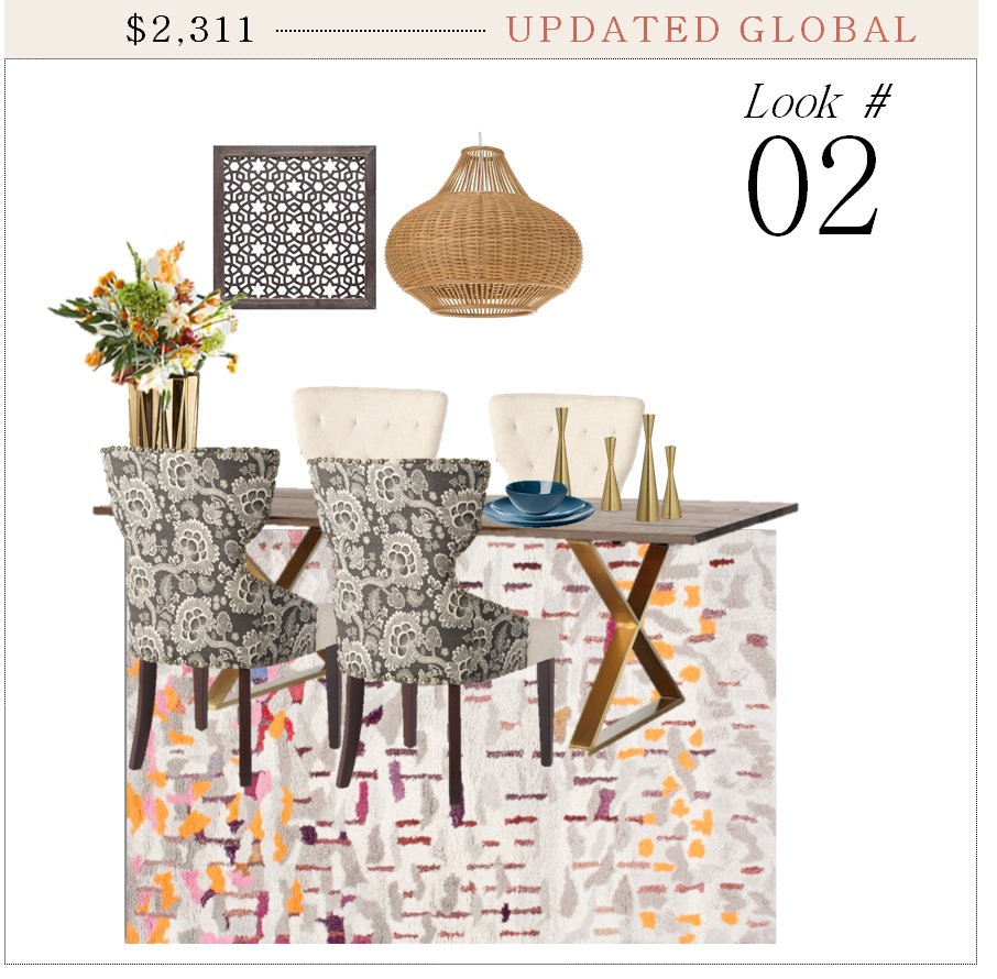 Rug  |  Table  |  Dining Chairs  |  Art  |  Light  |  Small Candlesticks  |  Tall Candlesticks  |  Dishes  |  Vase