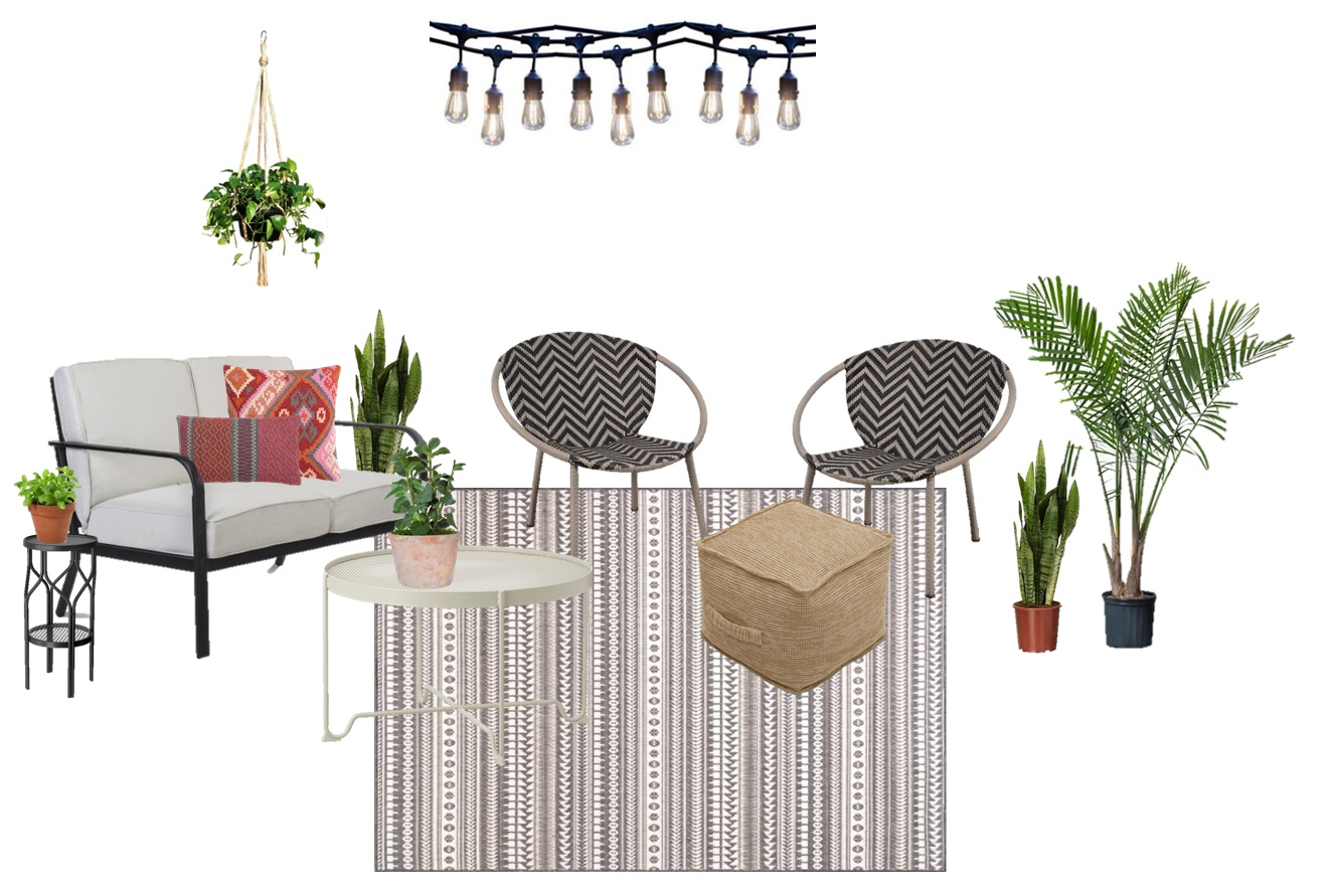 Love Seat  |  Coffee Table  |  Rug  |  Ottoman  |  Chairs  |  Lumbar Pillow  |  Kilim Pillow