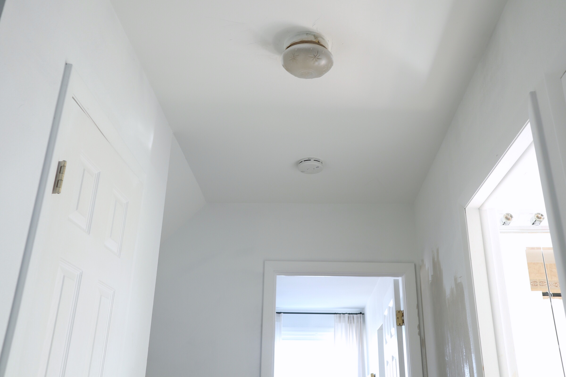 This photo was taken standing at the other end (near Nathan's room) to show the tiny little light fixture.