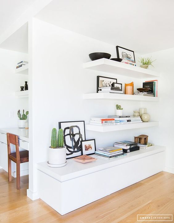 Example of beautifully styled floating shelves from  Amber Interiors