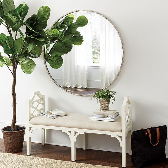 THIS MIRROR FROM  BALLARD DESIGNS  LOOKS PERFECT ABOVE THIS BENCH!