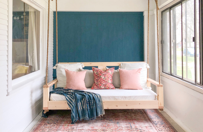 Holland Avenue Home - Avery of Holland Avenue Home is designing this beautiful sun room - with a DIY bed swing!! You definitely need to go check out her progress!