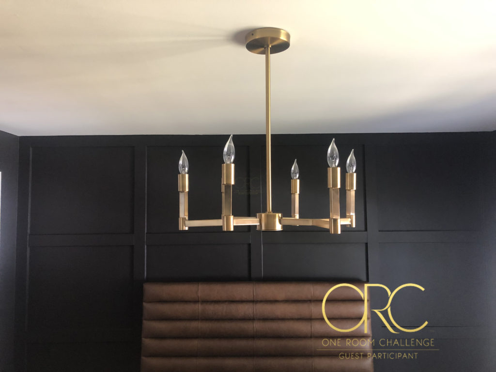 Home on Poplar Creek - You need to check out this master bedroom design! How gorgeous does that light fixture look against the black wall!! And that headboard!! So good!