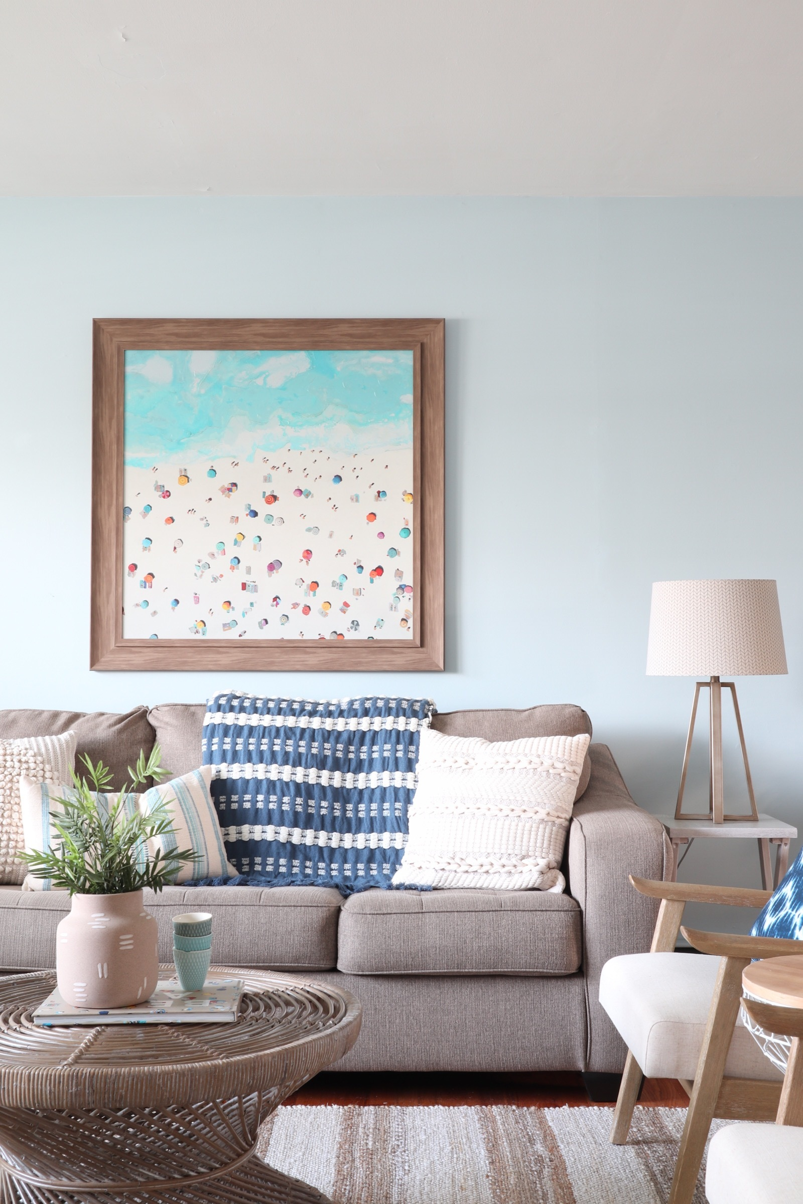 From Too Traditional to Modern Beach Vibes - My sister and her family have a beautiful beach house in New Jersey. Their living room felt a bit too traditional though. I helped transform it into a casual & beachy, yet modern space that is perfect for entertaining guests!