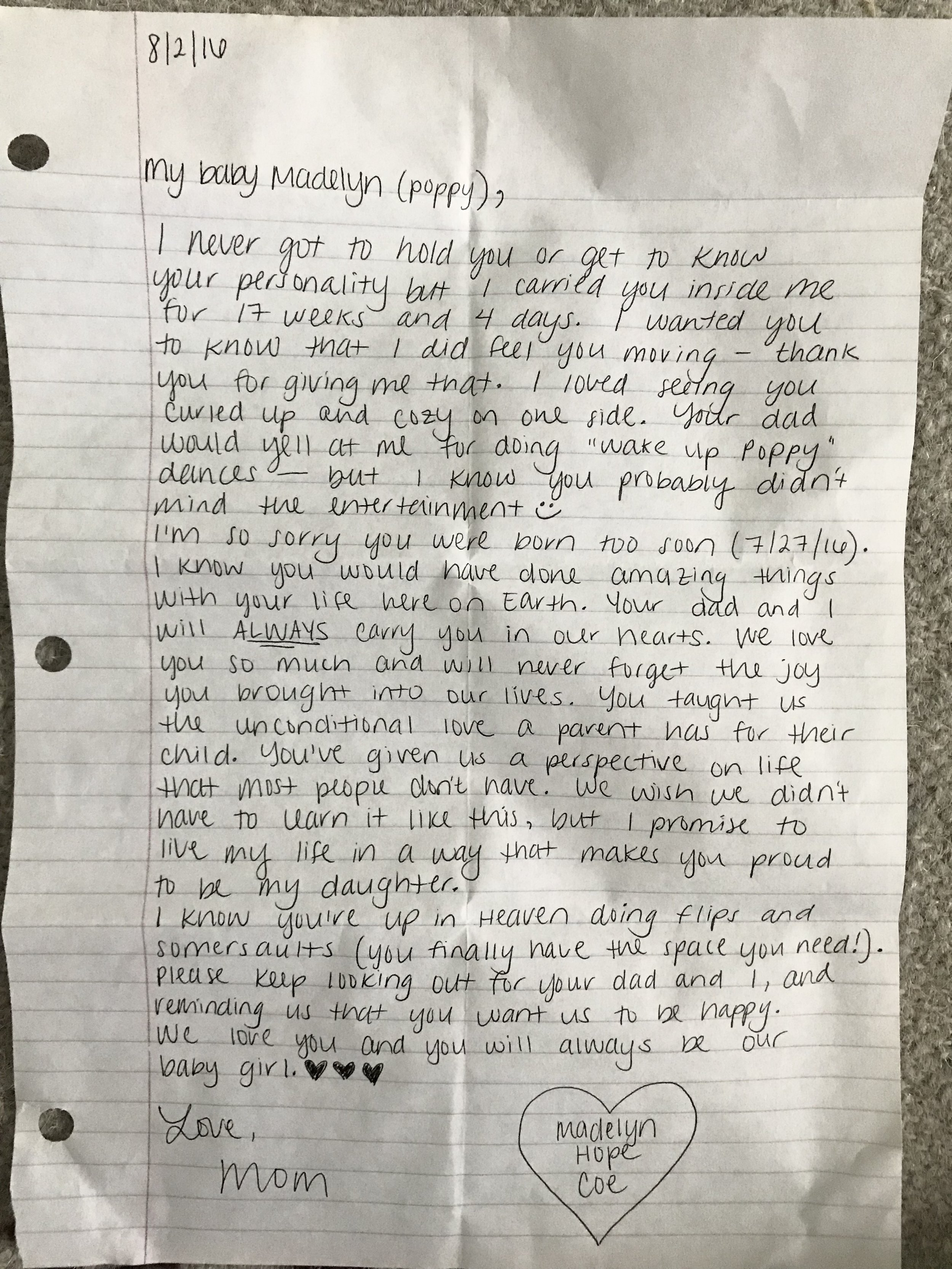 The letter I wrote to Madelyn about a week after she was born.