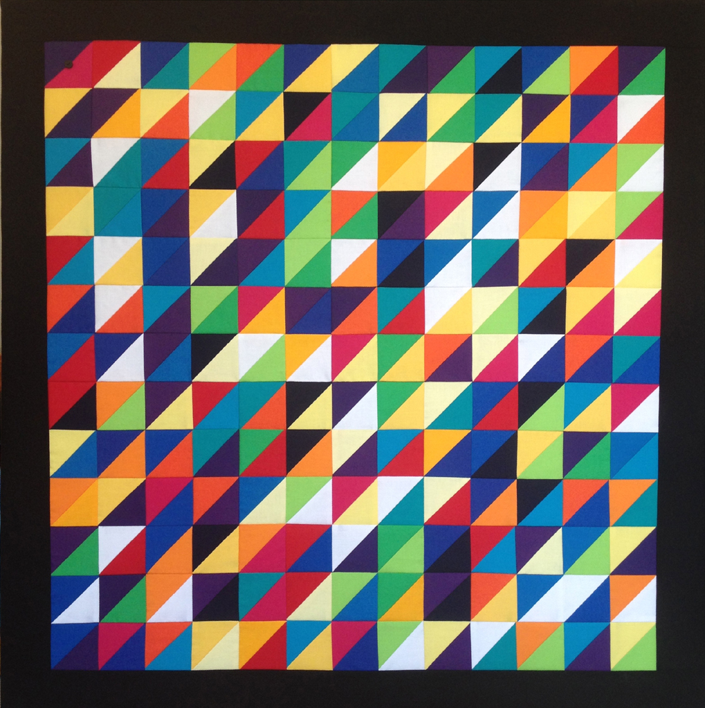 Pi: 4 - 89cm square2017* 100% cotton fabric* 100% cotton batting* calico backing* tie quilted* stretched on a canvas stretcher* split batten wall fastening* signed and dated on reverse£2325