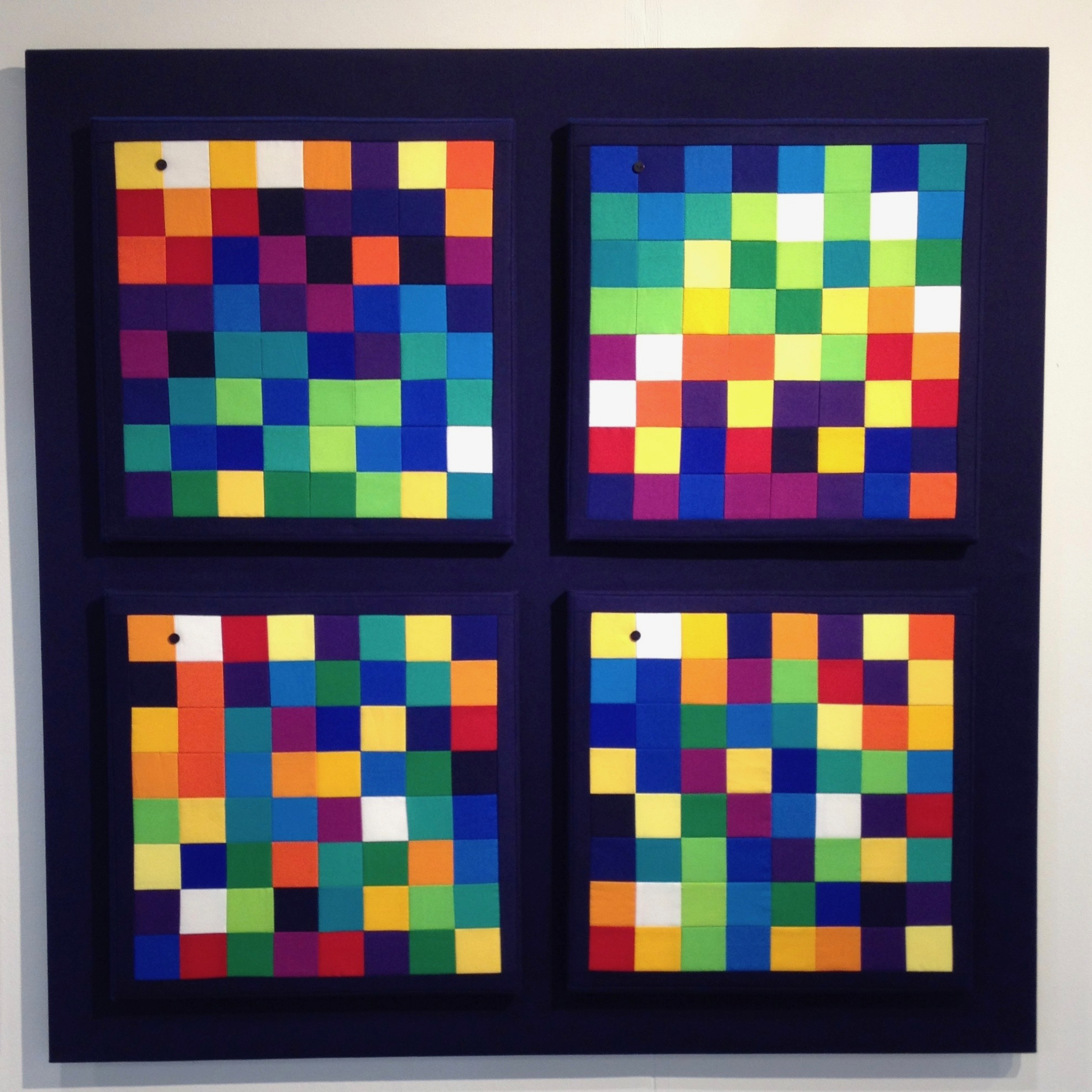 Four little slices of Pi - 99cm square2018* 100% cotton fabric* 100% cotton batting* calico backing* tie quilted* 4 canvas stretchers* mounted on fabric covered mdf* split batten wall fastening* signed and dated on reverseNSF