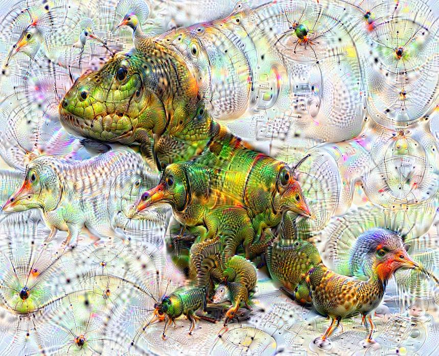 Deep dream of T-Rex (🦖) (level 2)