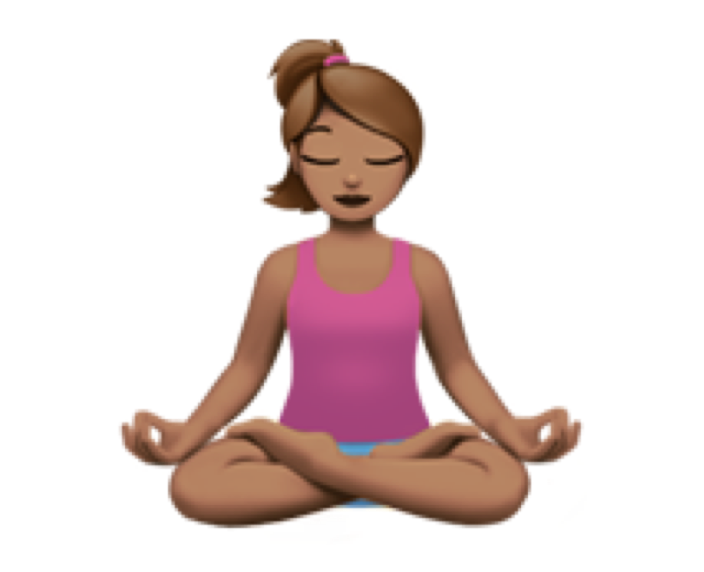 Woman in Lotus position (🧘🏽‍♀️)