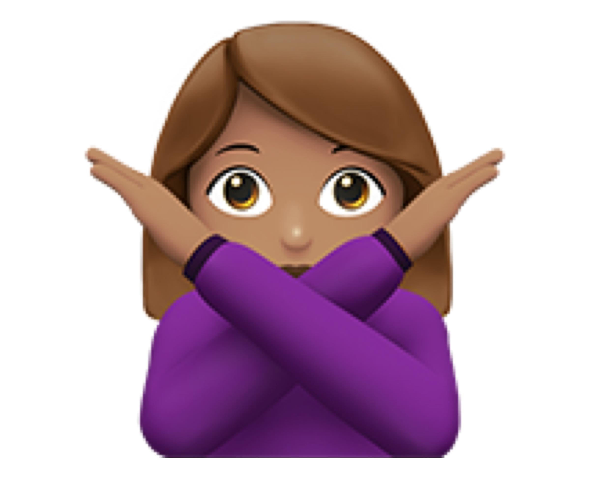 Woman gesturing no (🙅🏽♀️)