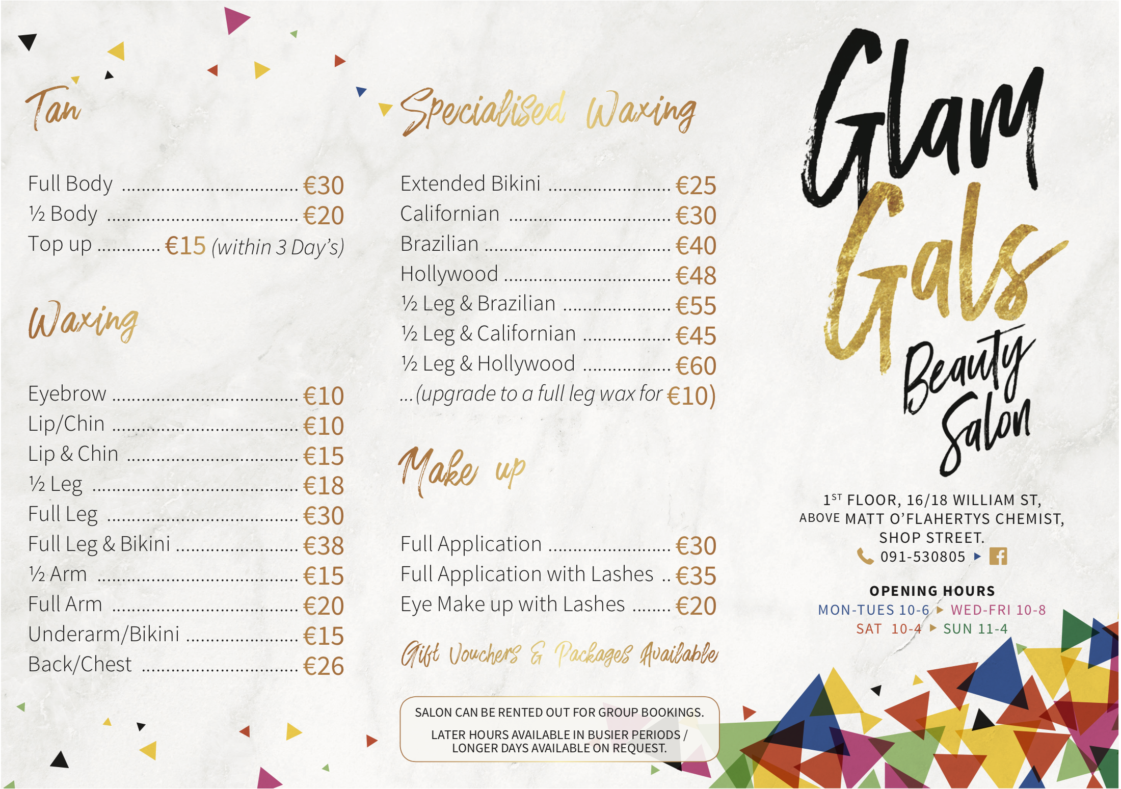 Glam Gals Price List Front Page