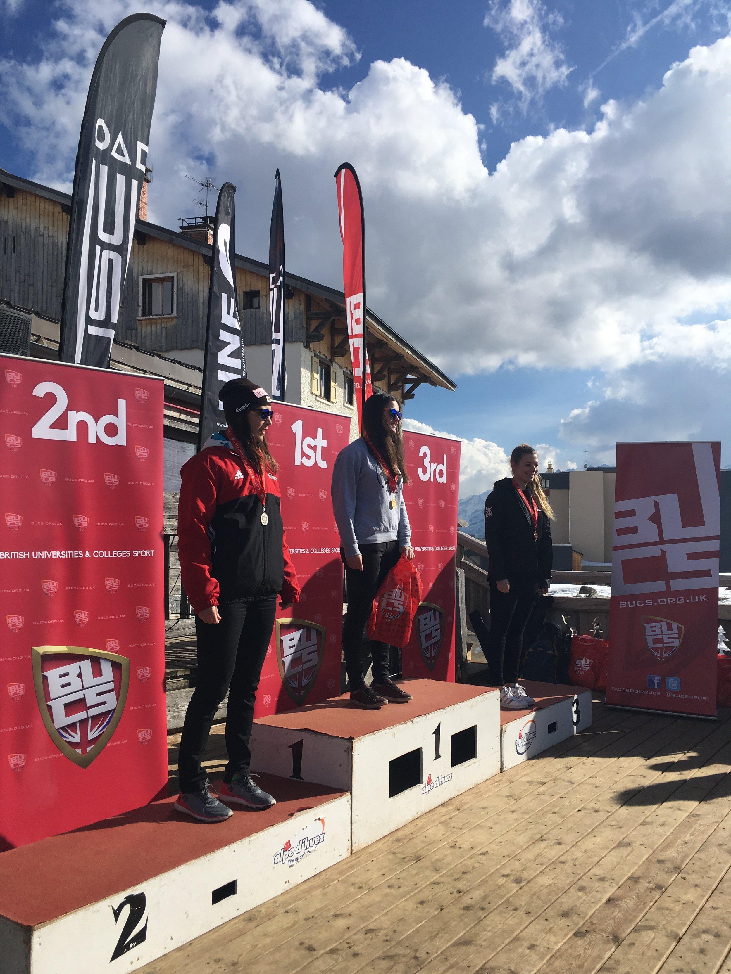 The winners of the Women's Slalom