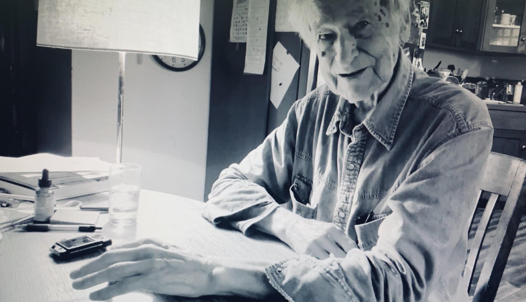 Jonas Mekas at his studio in Brooklyn