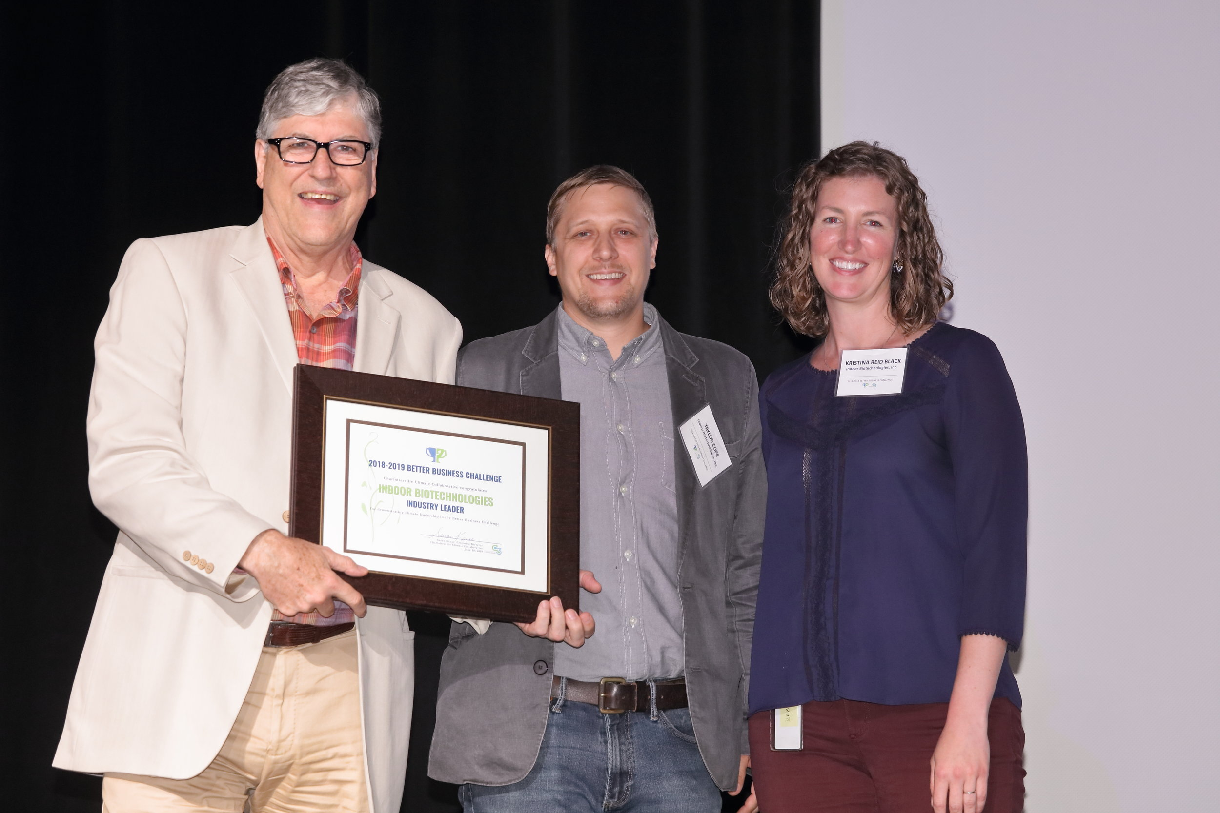 Indoor Biotechnologies at the 2019 Better Business Challenge Awards Night