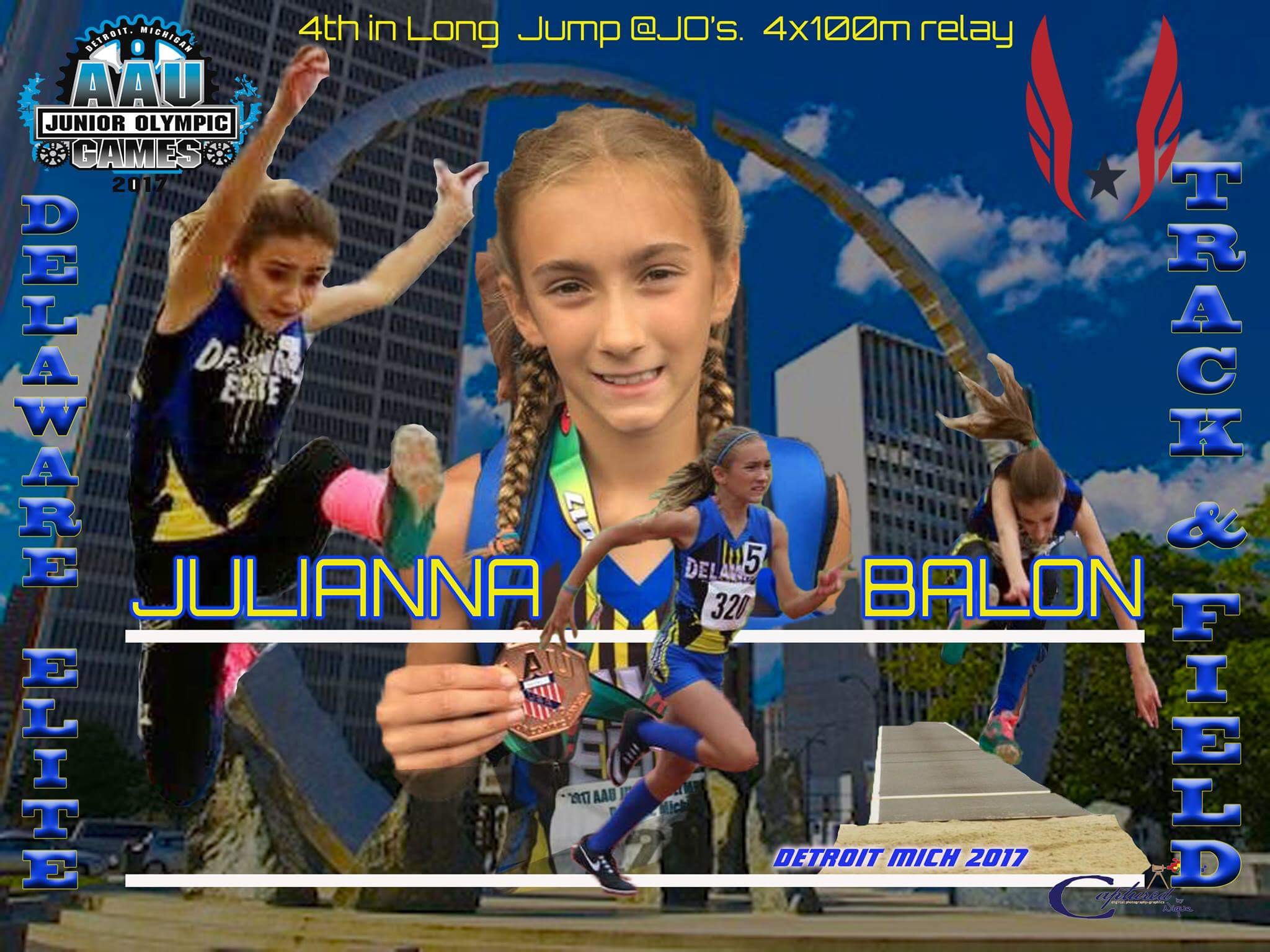 Julianna Balon - 4th place medalist in Long jump Jr Olympics - 11/12 age division