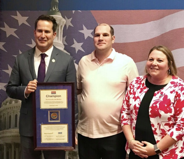 L-R: Congressman Moulton, Michael Buckman and Andrea Mitsch