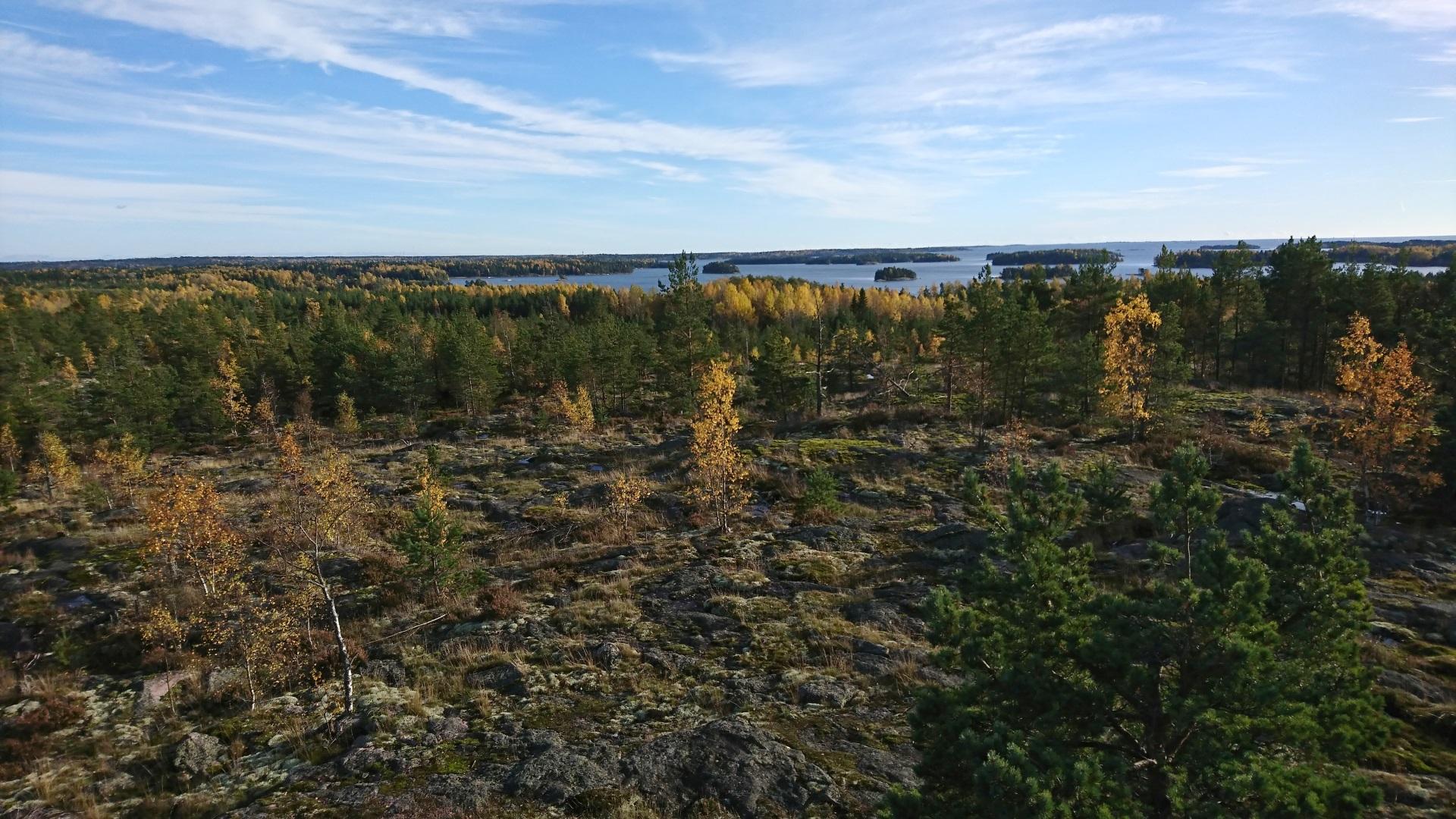 Kilpailun korkeimmalta paikalta, Råbergeniltä avautuu näkymä Suomenlahdelle.