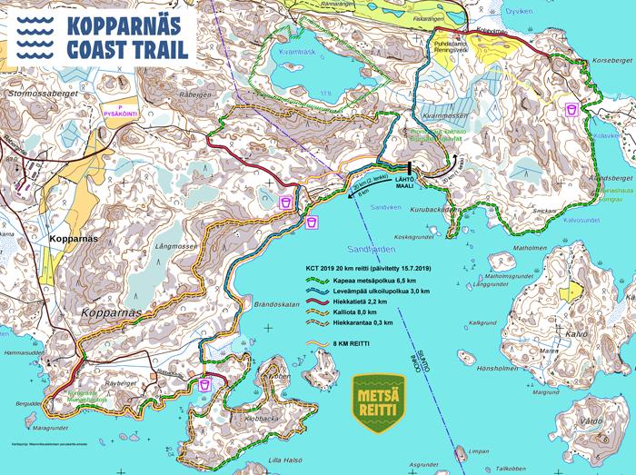 Mustareunaiset viivat = 20 km reitti, keltainen viiva = 8 km reitti. Klikkaa kuva suuremmaksi.