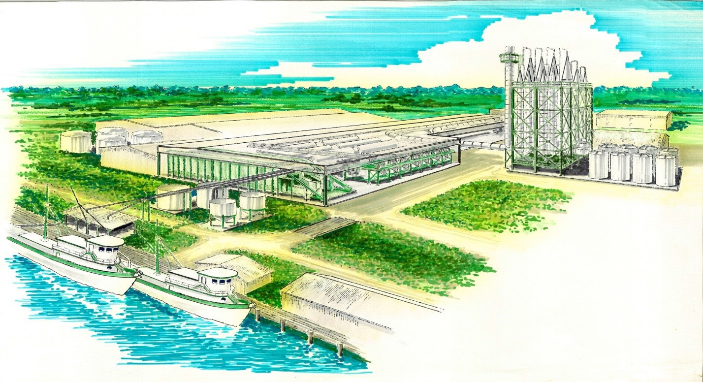 Artistic rendering of the Advanced Fish Meal Plant