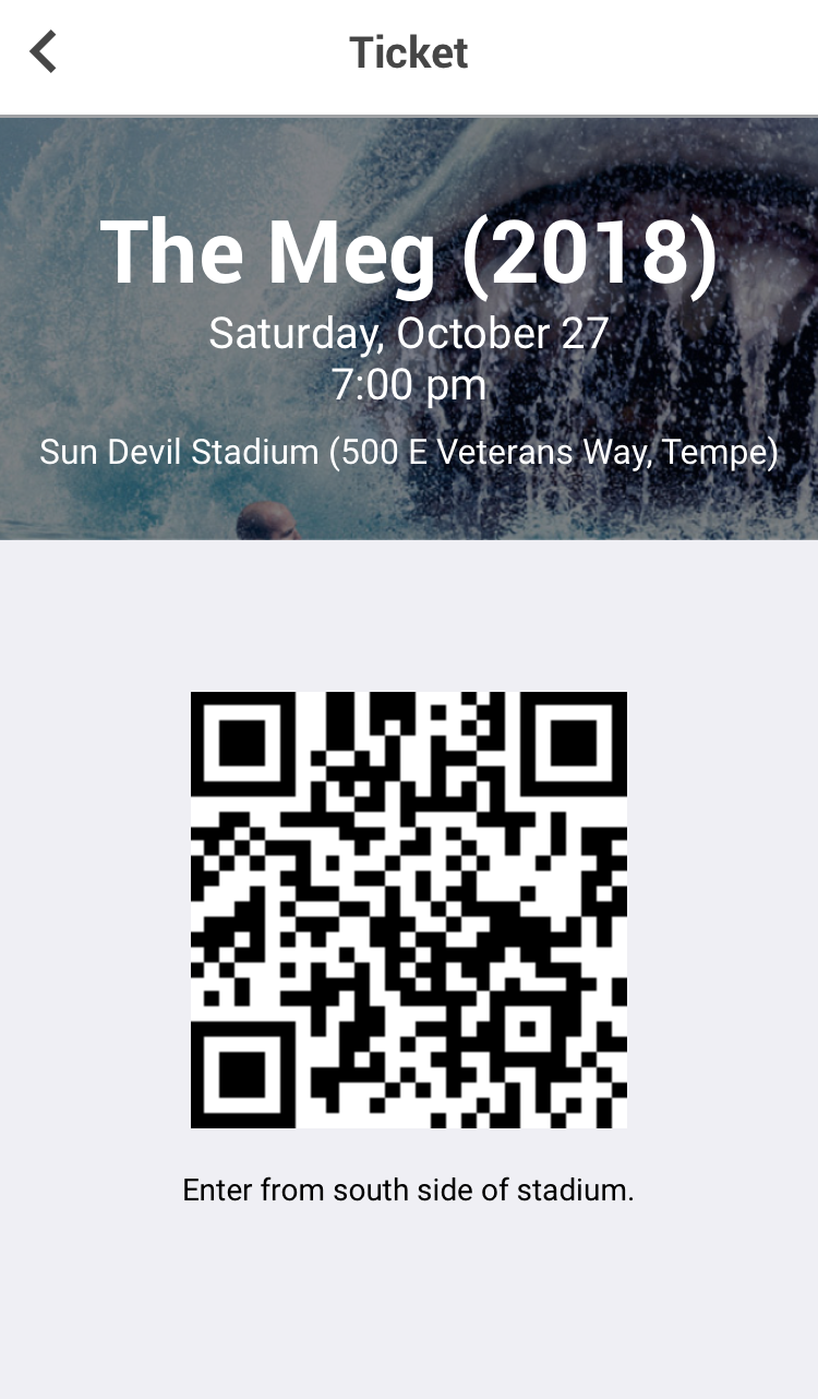 Present this tickets at Sun Devil Stadium for admittance into the movie for up to two people