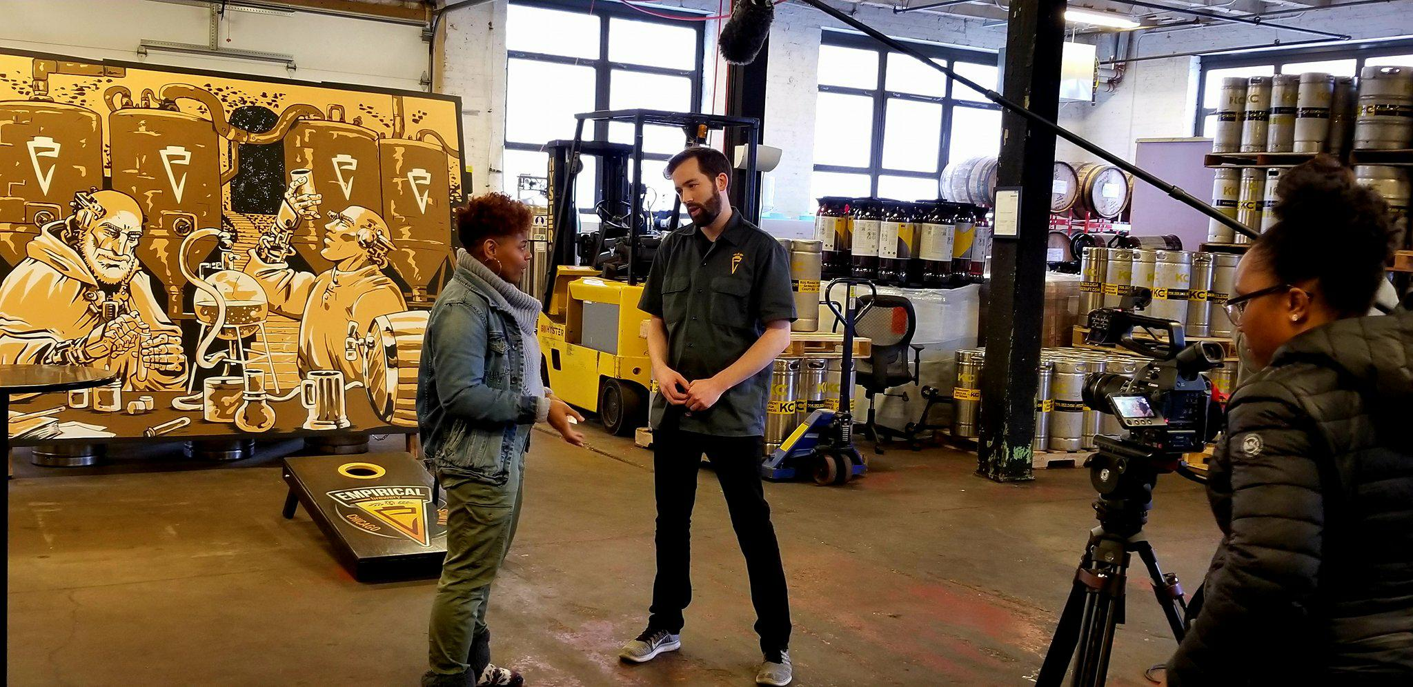 Host of Craft Beer Clash Melanie Winston as she interviews Jacob Hutson from Empirical Brewing.