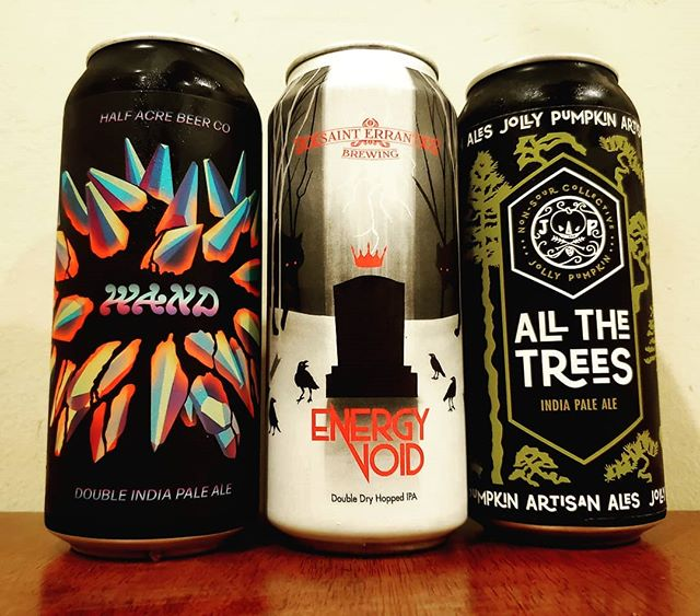 Tonight's podcast line up with @rodjbeerventures as we discussed Diversity in Beer over beers. @halfacrebeer Wand.. @sainterrantbrewing Energy Void & @jollypumpkin @jollypumpkinhp All The Trees