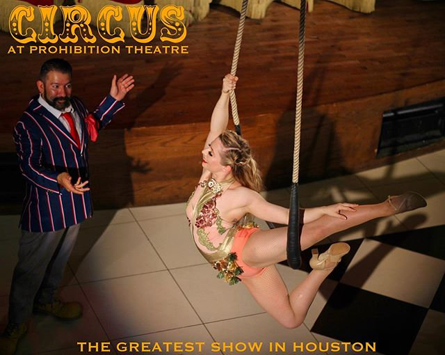 "‼️Last chance to get tickets 1/2 off for Circus @prohibitiontheatre tomorrow! Showtime is at 12 pm, we hope to see you there!🎪 Tickets available through the link in our bio, use code ""JUGGLE"" to receive discount 🎫 Aerialist: @sarahly  Photo: @mikahdanae  #CircusHTX #ProhibitionTheatre"