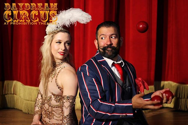 "Daydream Circus is coming back to the theatre this Saturday, September 7th at 12pm! This family friendly spectacular features circus acts from talent sourced across Texas, bringing you an authentic circus feel in our historic theatre space.  Get your tickets for 25% off when you use code ""TRAPEZE"" at checkout & we'll see you at the show! 🎫Tickets available through the link in our bio🎫 #CircusHTX #ProhibitionTheatre"
