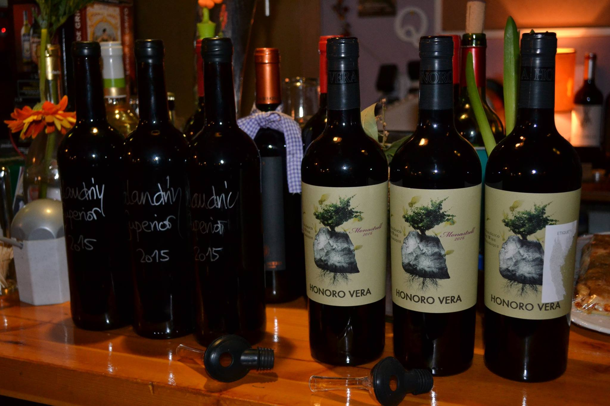 Some hand written bottles and organic wines