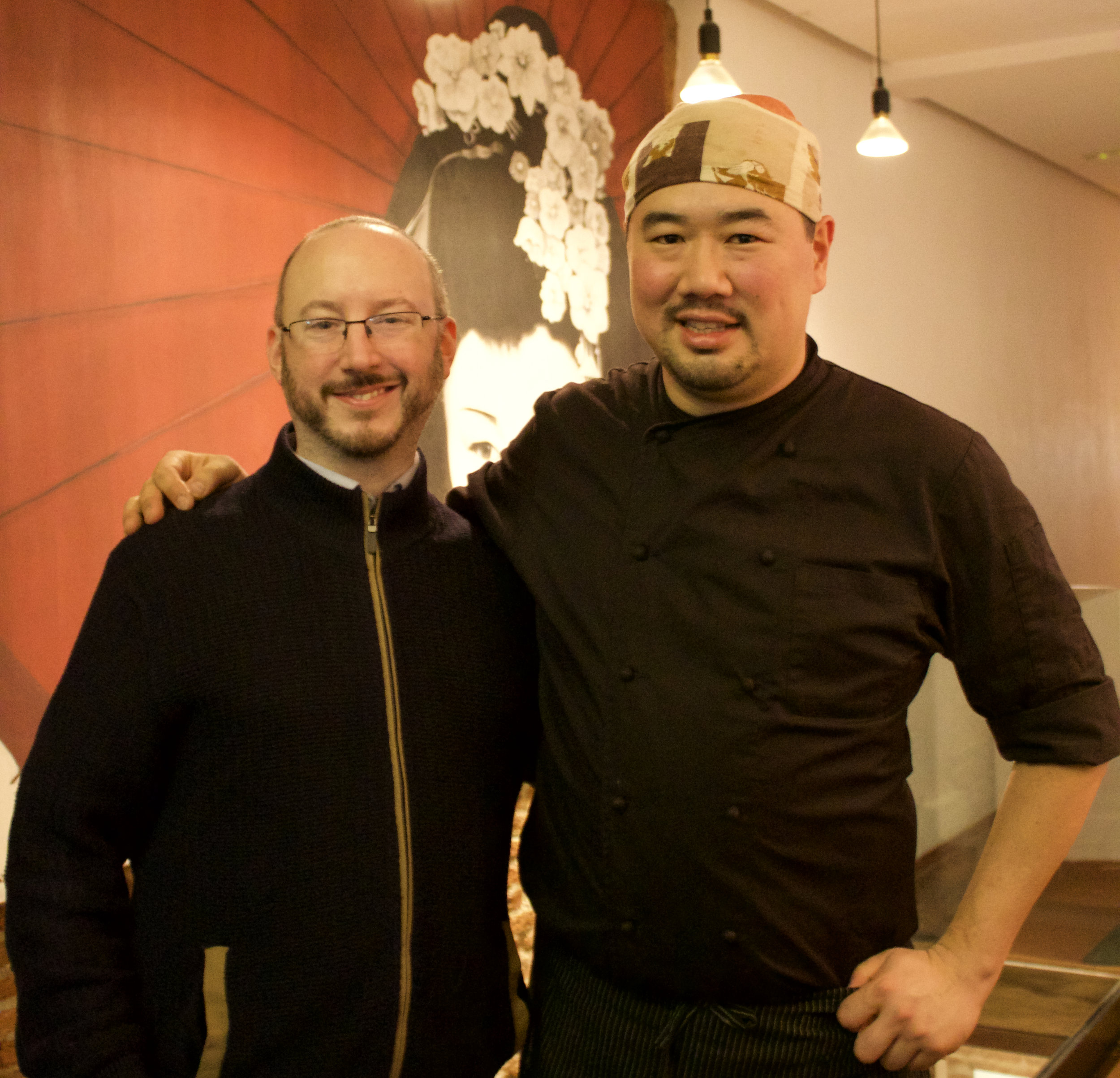 Myself and Gohei Kishi, our chef and entertainer for the evening
