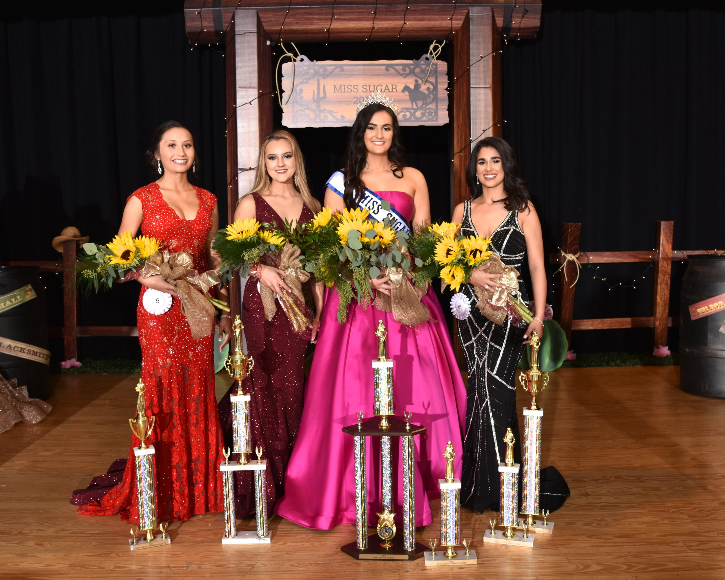 Miss Sugar 2019 Court L to R: Desiree Rudd, Caroline Sweet, Melissa Manning, Morgan Sherman