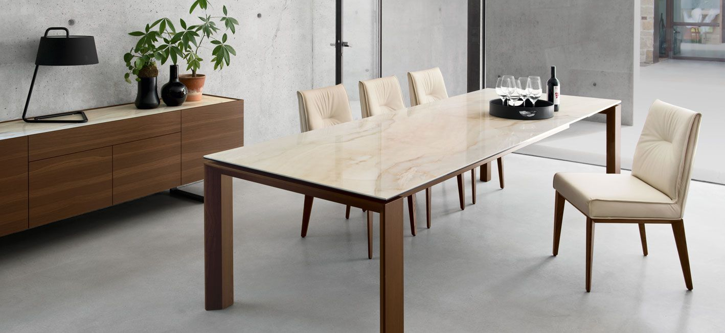"Omnia Glass/Ceramic 11"" Extendable Dining Table — M Collection Home"