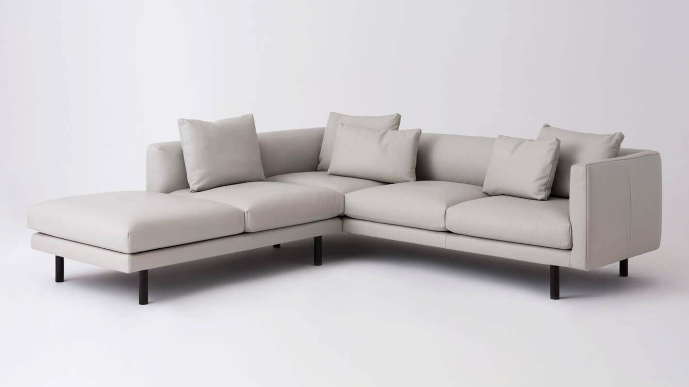 Replay Open Chaise Sectional Sofa - Leather - LAF - EQ3 — M Collection Home
