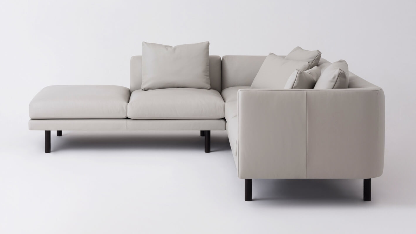 Replay Open Chaise Sectional Sofa - Leather - LAF — M Collection Home