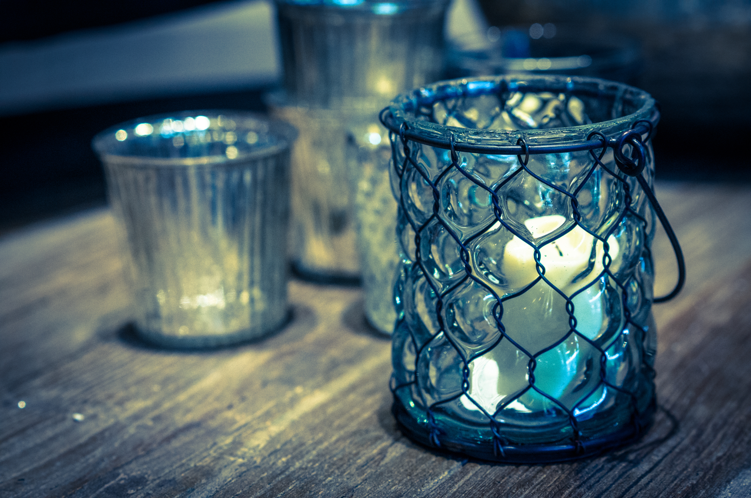 glass lanterns with candles