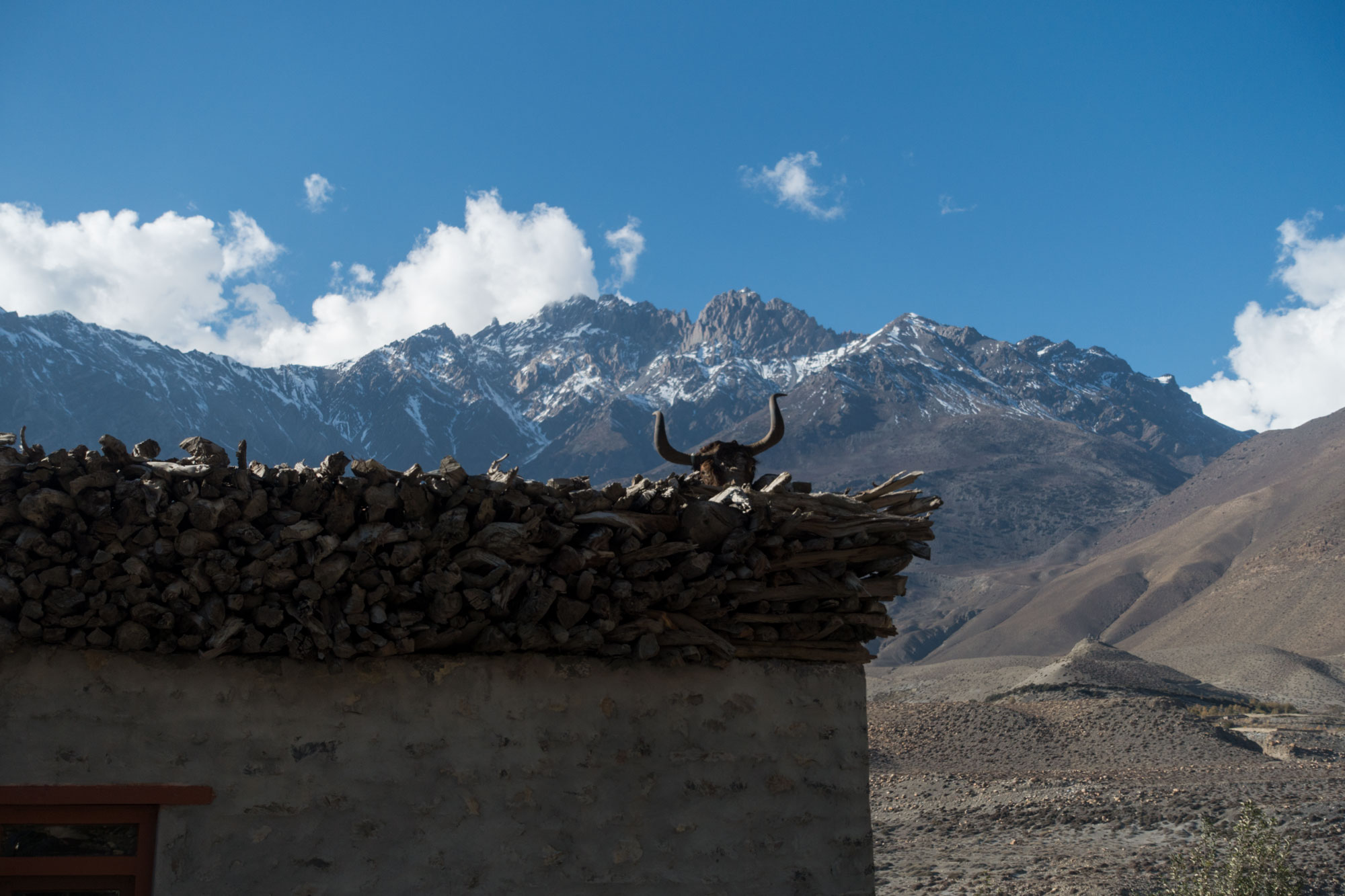 -A yak head placed on top of a house protects the occupants from invaders and evil spirits.-