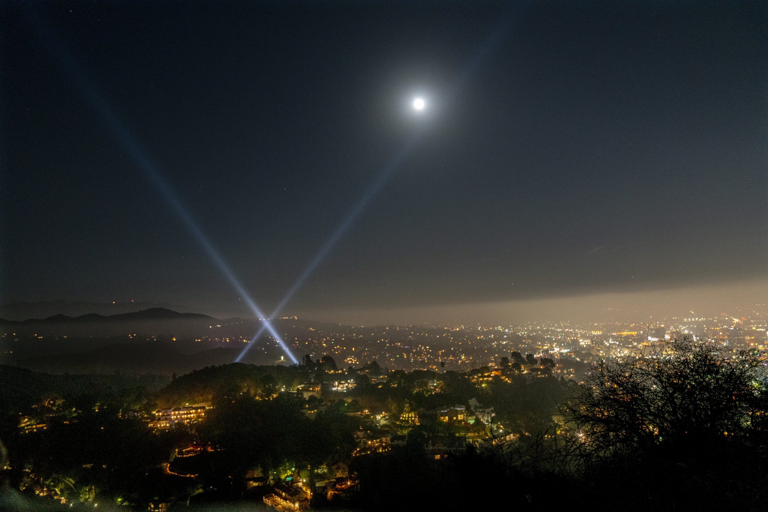 Moonlight view of Hollywood from  Runyon Canyon