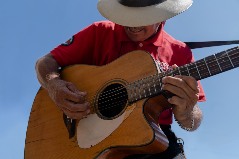 A street musician plays Hendrix songs in downtown Tijuana.