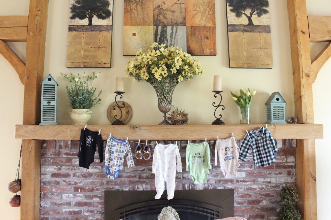 fireplace and hanging onesies