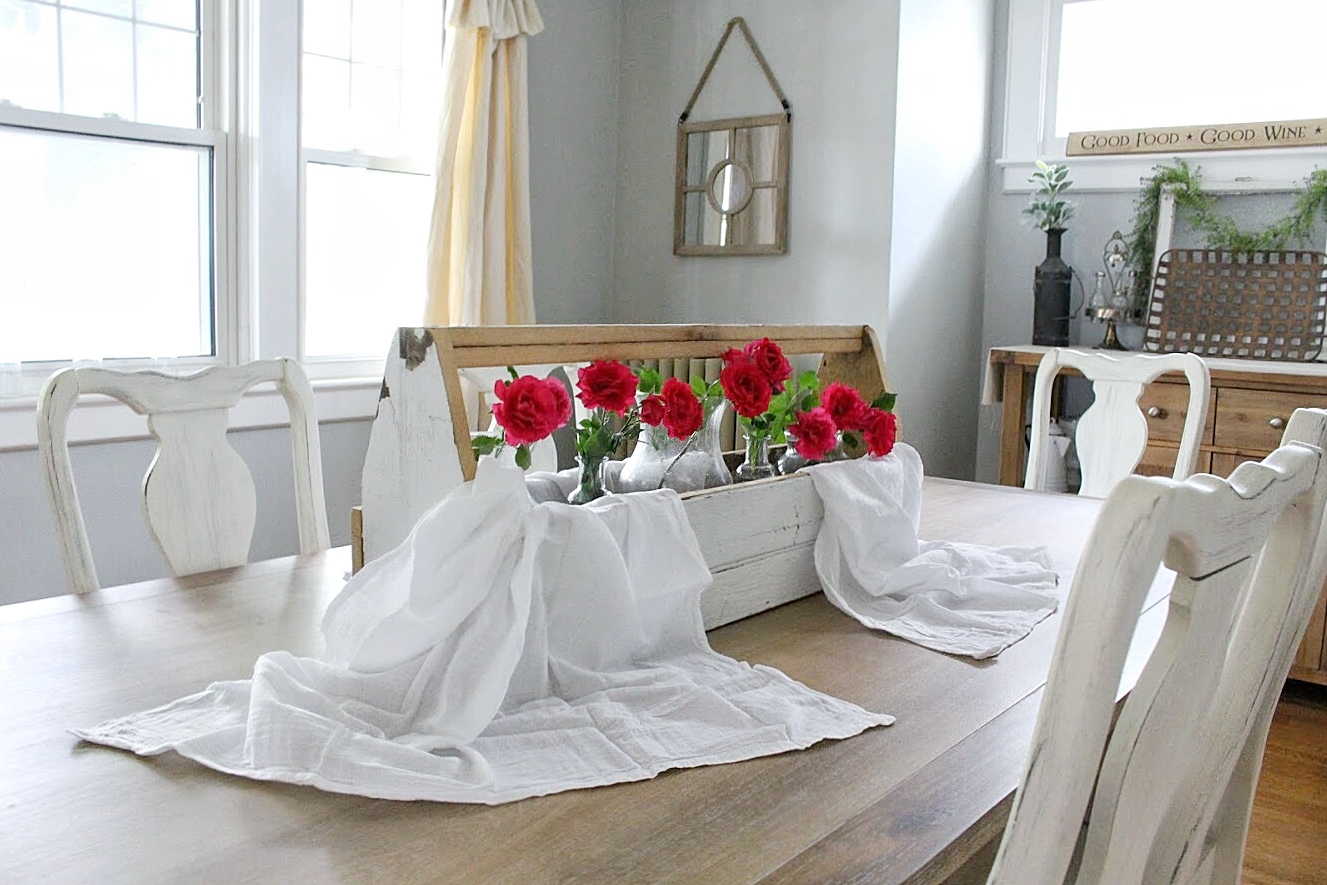 flour sack, tool box, and roses