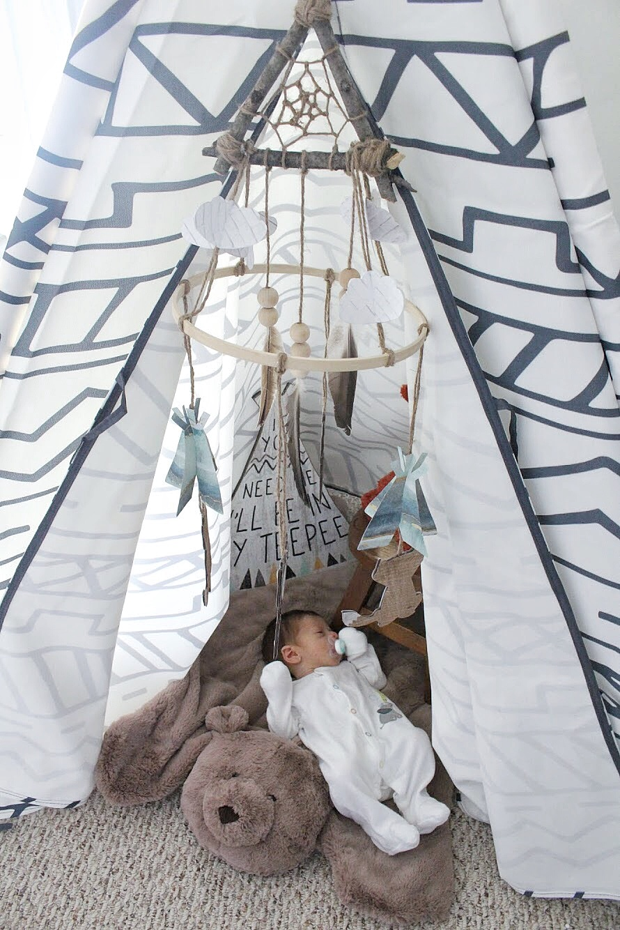Dominic in the teepee