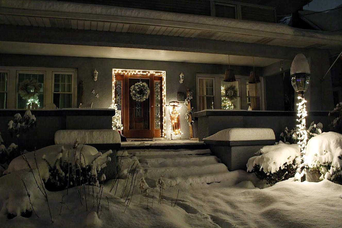 Snow and lights at night