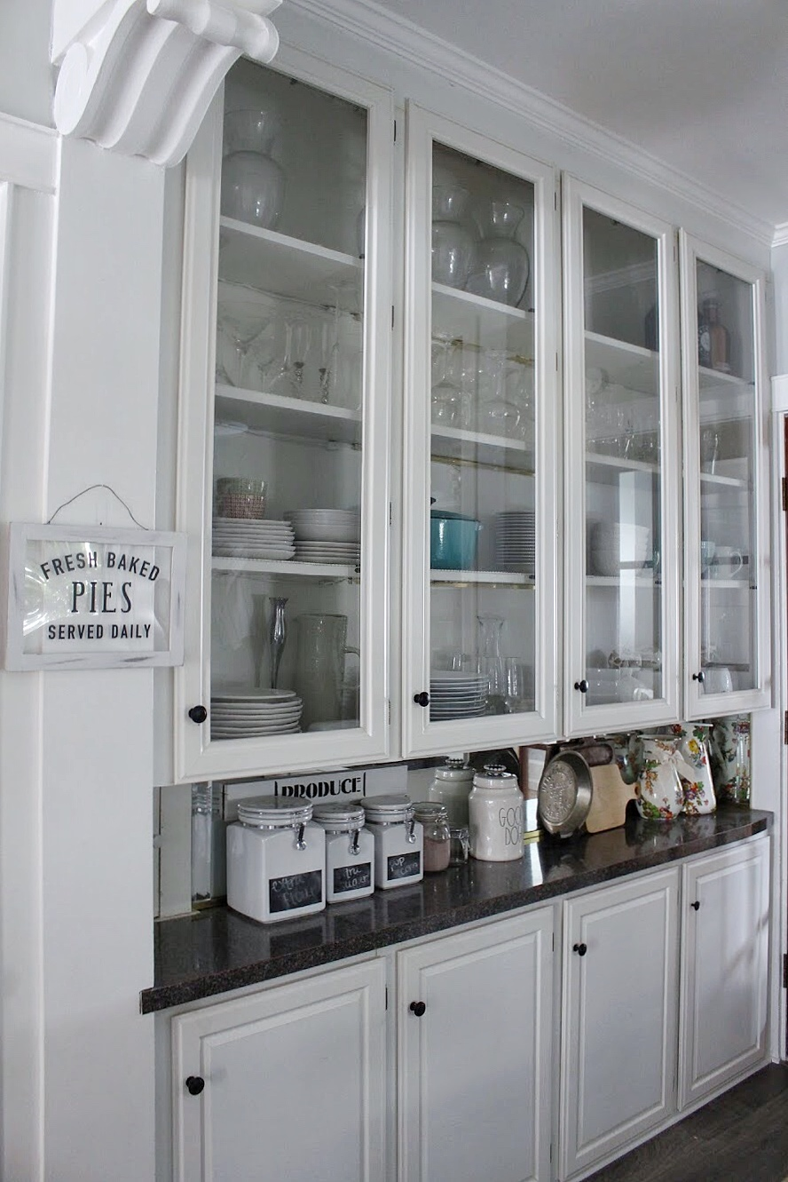 Glass cabinets in the kitchen