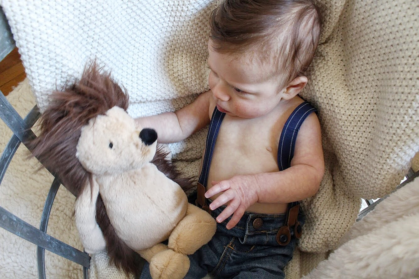 Dominic looking at his stuffed animal